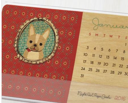 animal desk calendar