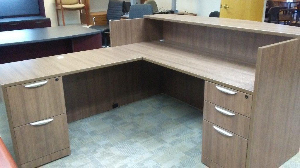MATCHING RECEPTION AND DESK STATION-MODERN WALNUT